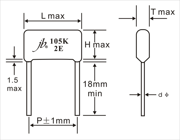 JFB - Metallized Polyester Film Capacitor Drawing