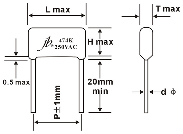 JFC - Metallized Polyester Film Capacitor (VAC) Drawing