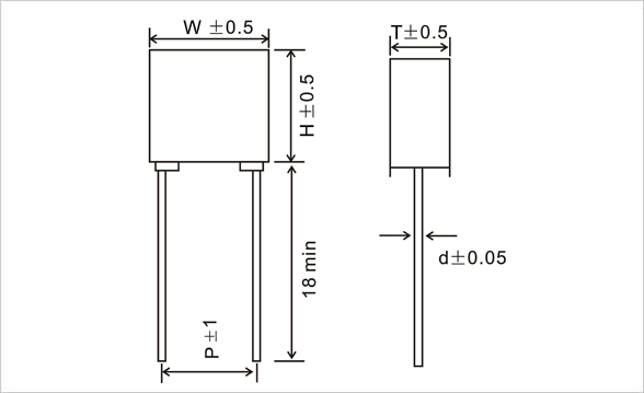 JFF-Mini-Box-Metallized-Polyester-Film-Capacitor Drawing