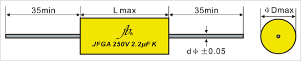 JFGA Axial Metallized Polyester Film Capacitor (CYCLOIDAL)