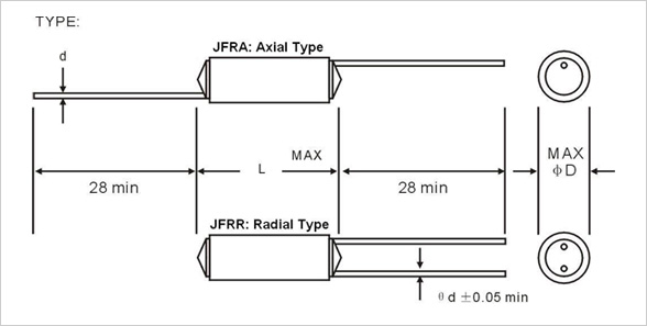 JFR - Radial & Axial Polystyrene Film Capacitor Drawing