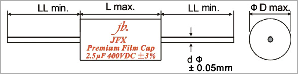 JFX - Premium Metallized Polypropylene Film Capacitors – Axial Drawing