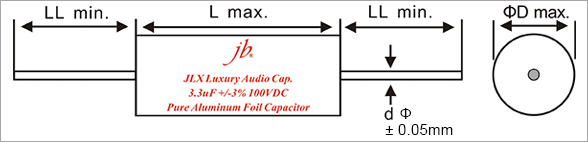 JLX - Luxury Aluminum Foil and Film Metallized Polypropylene Capacitors - Axial Drawing