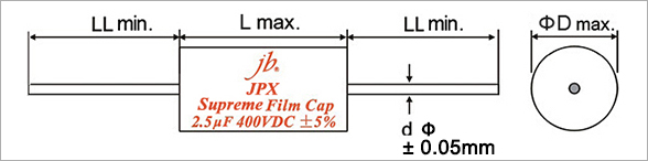 JPX - Supreme Metallized Polypropylene Film Capacitors – Axial Drawing